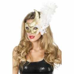 Venetiaans oogmasker wit/goud veer