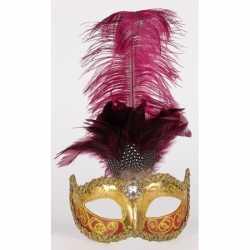 Venetiaans veren oogmasker bordeaux goud