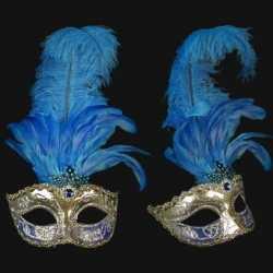 Venetiaans veren oogmasker zilver/blauw