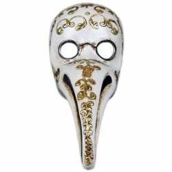 Venetiaans wit gezichtsmasker pestdokter/pestmeester halloween