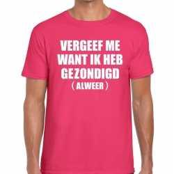 Vergeef me t shirt roze heren