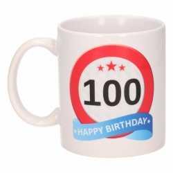 Verjaardag 100 jaar verkeersbord mok / beker