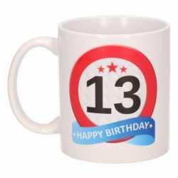 Verjaardag 13 jaar verkeersbord mok / beker
