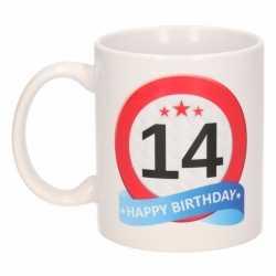 Verjaardag 14 jaar verkeersbord mok / beker