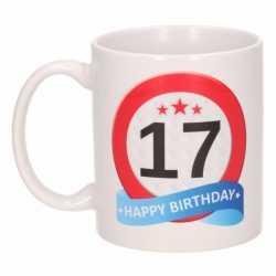 Verjaardag 17 jaar verkeersbord mok / beker