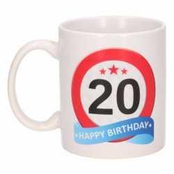 Verjaardag 20 jaar verkeersbord mok / beker