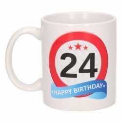Verjaardag 24 jaar verkeersbord mok / beker