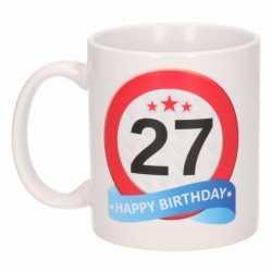 Verjaardag 27 jaar verkeersbord mok / beker