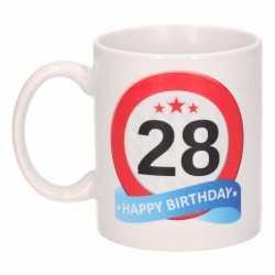 Verjaardag 28 jaar verkeersbord mok / beker
