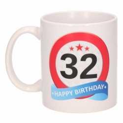 Verjaardag 32 jaar verkeersbord mok / beker