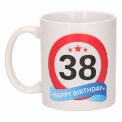Verjaardag 38 jaar verkeersbord mok / beker