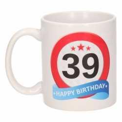 Verjaardag 39 jaar verkeersbord mok / beker