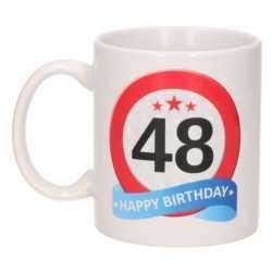 Verjaardag 48 jaar verkeersbord mok / beker