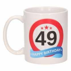Verjaardag 49 jaar verkeersbord mok / beker