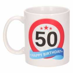 Verjaardag 50 jaar verkeersbord mok / beker