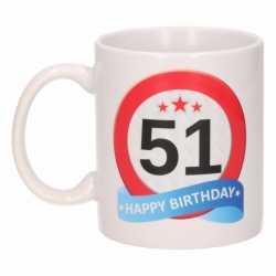 Verjaardag 51 jaar verkeersbord mok / beker