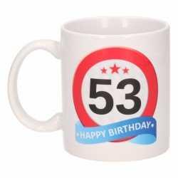 Verjaardag 53 jaar verkeersbord mok / beker