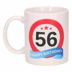Verjaardag 56 jaar verkeersbord mok / beker