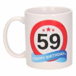 Verjaardag 59 jaar verkeersbord mok / beker