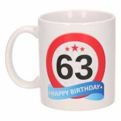 Verjaardag 63 jaar verkeersbord mok / beker