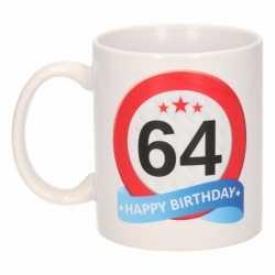 Verjaardag 64 jaar verkeersbord mok / beker