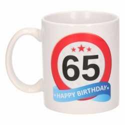 Verjaardag 65 jaar verkeersbord mok / beker
