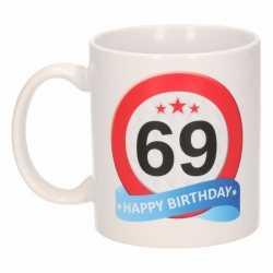 Verjaardag 69 jaar verkeersbord mok / beker