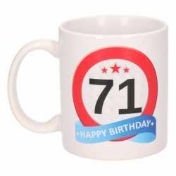 Verjaardag 71 jaar verkeersbord mok / beker