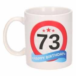 Verjaardag 73 jaar verkeersbord mok / beker