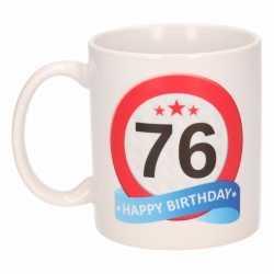 Verjaardag 76 jaar verkeersbord mok / beker