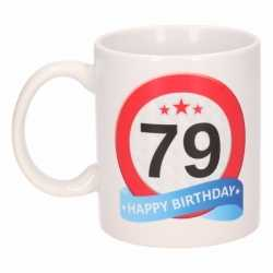 Verjaardag 79 jaar verkeersbord mok / beker