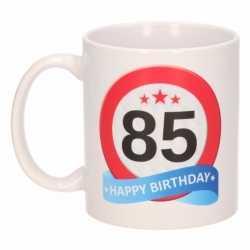 Verjaardag 85 jaar verkeersbord mok / beker