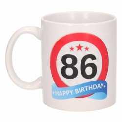 Verjaardag 86 jaar verkeersbord mok / beker