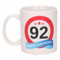 Verjaardag 92 jaar verkeersbord mok / beker