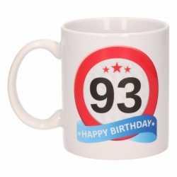 Verjaardag 93 jaar verkeersbord mok / beker