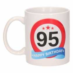 Verjaardag 95 jaar verkeersbord mok / beker