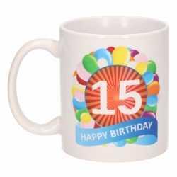 Verjaardag ballonnen mok / beker 15 jaar