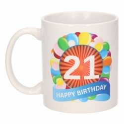 Verjaardag ballonnen mok / beker 21 jaar