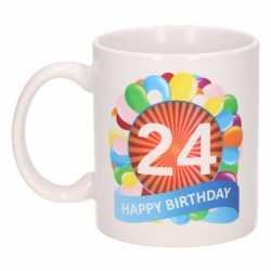 Verjaardag ballonnen mok / beker 24 jaar