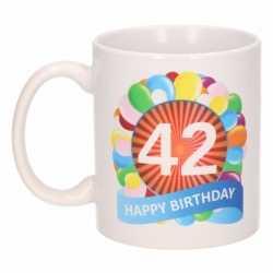 Verjaardag ballonnen mok / beker 42 jaar