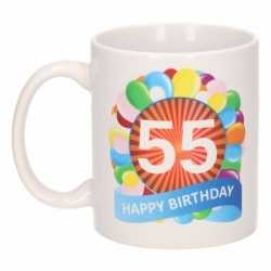 Verjaardag ballonnen mok / beker 55 jaar