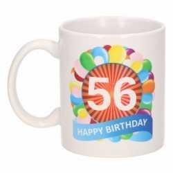 Verjaardag ballonnen mok / beker 56 jaar