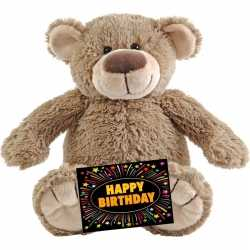 Verjaardag knuffel beer beige 22 + gratis verjaardagskaart