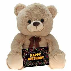 Verjaardag knuffel beer beige 75 + gratis verjaardagskaart