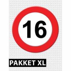 Verkeersbord 16 jaar feestartikelen pakket XL