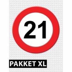 Verkeersbord 21 jaar feestartikelen pakket XL