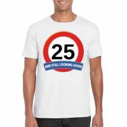 Verkeersbord 25 jaar t shirt wit heren