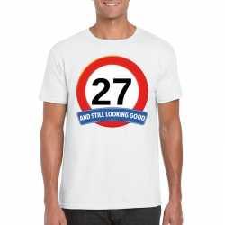 Verkeersbord 27 jaar t shirt wit heren