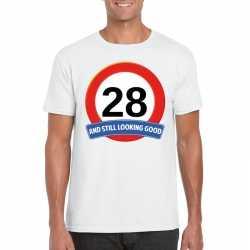 Verkeersbord 28 jaar t shirt wit heren