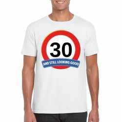 Verkeersbord 30 jaar t shirt wit heren